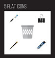 icon flat equipment set of pen pushpin cutter vector image vector image