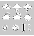 Icons indicate the weather on a gray background vector image
