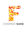 letter f logo with orange yellow red particles vector image vector image