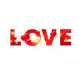love you color red text with 3d heart decor and vector image