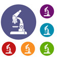 microscope icons set vector image vector image