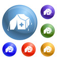 migrant help tent icons set vector image vector image