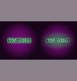 neon banner of green top 25 the best vector image