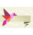 Origami hummingbird floral background vector image vector image