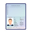 passport open id document with male photo vector image vector image