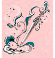 Pen with abstract drawing on grunge light pink vector image