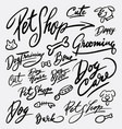 Pet shop and dog care hand written typography