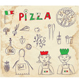 Pizza hand drawn elements - retro design vector image vector image