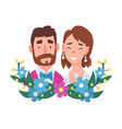 portrait bride and groom standing behind a vector image vector image