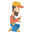 Repairman holding spanner vector image vector image