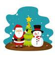 santa claus and pine tree with snowman vector image vector image