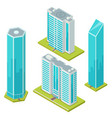 set isolated glass skyscraper business center vector image