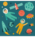 set with space and planets icons vector image
