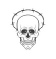 skull with barbed wire concept vector image vector image
