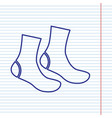 socks sign navy line icon on notebook vector image vector image
