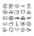 sound audio volume music line style icons set vector image