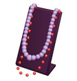 stand showcase with beads isolated on white vector image