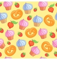 Sweet pattern cakes on yellow background Seamless vector image vector image