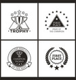 trophy and prize of champion monochrome logos vector image