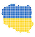 ukraine colors dot poland map vector image