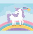 unicorn rainbow shooting star fantasy magic dream vector image vector image