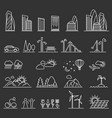 urban line icons vector image vector image