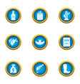 wanted icons set flat style vector image