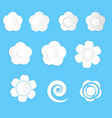 white paper flowers on a blue background vector image vector image