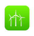 wind turbines icon digital green vector image vector image