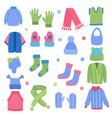 winter clothes fabric knitting stylish wardrobe vector image vector image