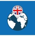 world map with pointer flag england vector image