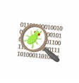Zoom on a malicious binary code icon cartoon style vector image
