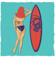 girl and surfing board vector image