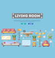 living room design poster in flat style vector image