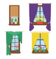 Windows with curtains and flowers set vector image