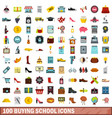100 buying school icons set flat style vector image