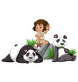 a panda keeper on white background vector image