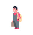 asian boy holding book backpack school children vector image