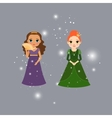 Beautiful princess characters with lights vector image vector image