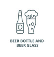 beer bottle and beer glass line icon beer vector image vector image