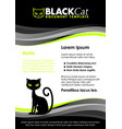 black and lime green document template with cat vector image
