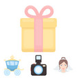 bride photographing gift wedding car wedding vector image vector image