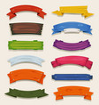 cartoon colored wood banners and ribbons vector image vector image