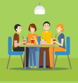 cartoon young people in cafe concept vector image vector image