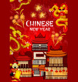 Chinese new year fireworks greeting card