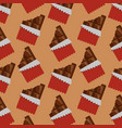 chocolate bars bitten package seamless pattern vector image