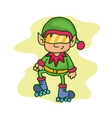 Christmas character elf roller skates vector image vector image