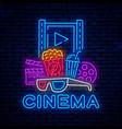 cinema neon bright night signboard vector image vector image
