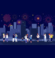 city fireworks people celebrate on street and vector image vector image