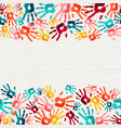 colorful hand print paint background art vector image vector image